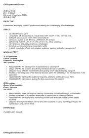 c programmer resume