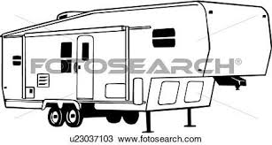 Fifth Wheel Camper Clip Art Sketch Coloring Page Great Outdoors