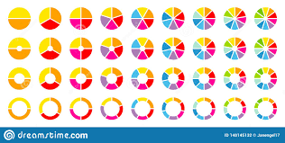 Set Of Round Pie Charts Color Stock Vector Illustration Of