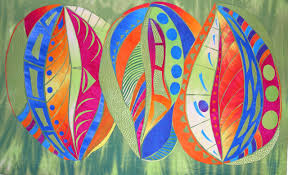 Large Art Quilts by Laura Wasilowski | Artfabrik & Seed Pods #1 Adamdwight.com