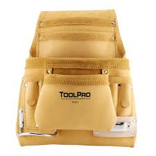 10 pocket top grain leather nail and tool pouch