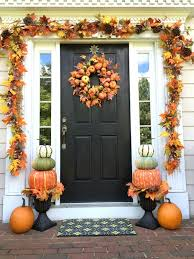 thanksgiving front door decorationsAutumn Porch Decorating Ideas  Pumpkin topiary Leaf garland and