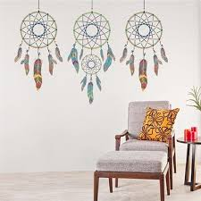 indian style three dreams catcher wall stickers living room bedroom creative decoration