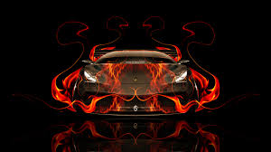 lamborghini murcielago front fire abstract car