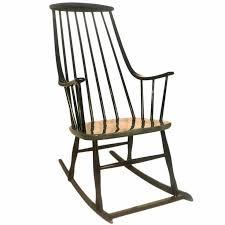 Black Scandinavian Modern Rocking Chair Grandessa by Lena Larsson Sweden  1958
