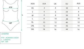International Women S Size Chart Funfit Shop Swimwear Activewear Online Fabric Size Guide