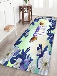 chic erfly flower printed soft anti skid area rug
