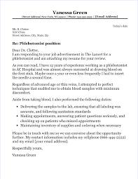 Phlebotomy Cover Letter Phlebotomist Cover Letter
