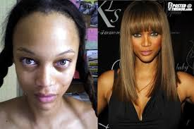 hey it s okay tuesday postcards from oblivion tyra banks celebs with and without makeup