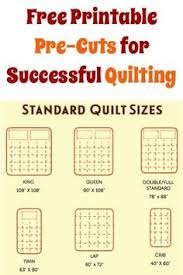 Quilt Size Chart | Chart, Craft and Quilt sizes & FREE Printable Pre-Cuts for Successful Quilting! Adamdwight.com