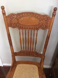 antique oak larkin 1 pressed back chairs circa 1900 cane seat matching