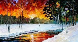 melting sunset palette knife oil painting on canvas by leonid afremov size 25