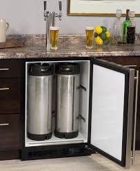 marvel kegerator cabinet with 2 faucet home brew keg tapping kit black stainless steel