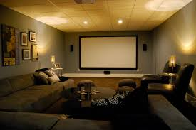 Basement media room with sectional sofa and giraffe texture carpeting  modern-home-theater