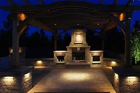 outdoor pergola and fireplace low voltage lighting