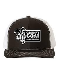 Grumpy Goat Black Trucker Hat with White Mesh \u2013 Coffee