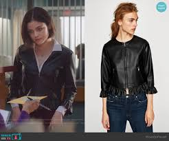 zara leather effect frilled jacket worn by lucy hale on life sentence