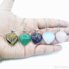 2019 jln gemstone heart shape stone pendant rose quartz green aventurine amethyst tiger eye moonstone with brass chain from jlnjewelry 1 71 dhgate com