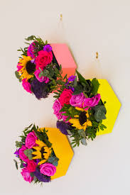 make these hexagon flower boxes for a pop of colour on your wall
