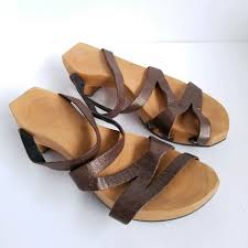 details about cydwoq rebel clog sandal leather strap wooden sole low heel size us 9 eur 39