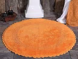 reversible bathroom rugs 36 inch round orange cotton luxury bath mat lace border