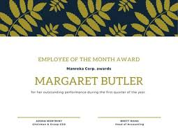 Employee Of The Quarter Certificate Customize 1 211 Employee Of The Month Certificates