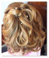 jr bridesmaids flowers hairstyles flowers hair accessories flower chin length blonde half up soft curls back
