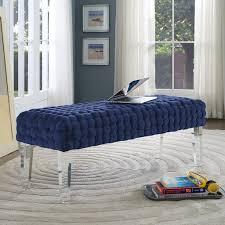 blue velvet bench. Grazia Woven Navy Blue Velvet Modern Bedroom Bench