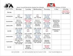 Spring 2019 Class Schedule Master Yourself Martial Arts In