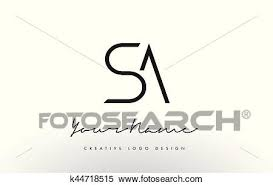 Sa Letters Logo Design Slim Creative Simple Black Letter Concept Clipart