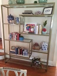 Glass Bookshelf Handmade Gold Bookshelf With Glass Shelving By Five Fork Studio