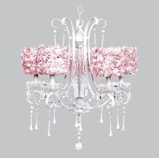 jubilee 5 light white colleen chandelier with pink rose garden drum shades