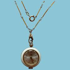vintage bucherer enamel pendant watch