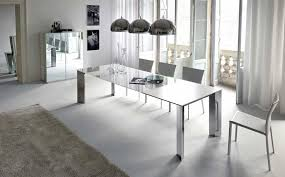 white modern dining room sets. Full Image Dining Room Modern Design Rectangular White Polished Wooden Table Floral Fabric Chairs Big Square Sets