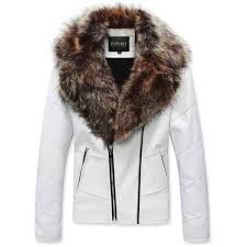men s slim fit faux fur leather jacket