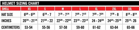 Motorcycle Helmet Size Chart Icon Tripodmarket Com