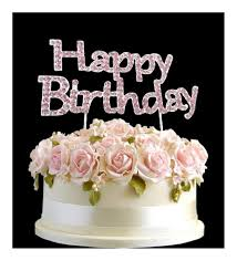 Cake Topper Rhinestone Birthday Number Pick Pink Happy Birthday