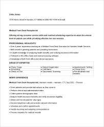 Sample Medical Receptionist Resumes Sample Medical Receptionist Resume 6 Examples In Word Pdf