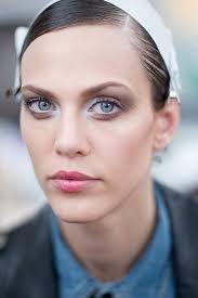subtle grey eye makeup pink lips