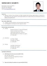 resume examples in english