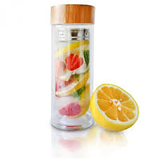 infusion bottle by ephistica premium fruit and tea water infuser tumbler made of double walled glass and a no leak bamboo lid by ephistica