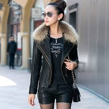 leather jackets plus size faux fur collar women leather jackets plus cotton jackets coats