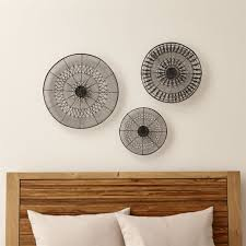 intricate circle metal wall art 3 piece set reviews crate and barrel throughout wine ideas 14