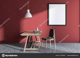 Rote Wand Minimalistischen Skandinavischen Stil Esszimmer