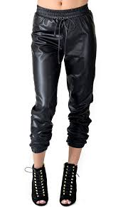 faux leather jogger pants with drawstring plus sizes available s 3xl soho girl