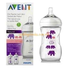 Avent Decorated Bottles Avent Natural Decorated Bottle Purple Elephant 100 x 100oz100ml 18