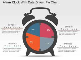 Data Clock Chart Alarm Clock With Data Driven Pie Chart Powerpoint Slides