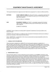annual maintenance contract format for machine equipment maintenance agreement template word pdf by