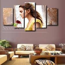 5 panels beauty and the beast modern home wall decor painting canvas art print