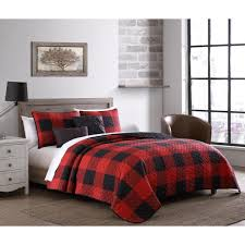 buffalo plaid 7 piece red and black